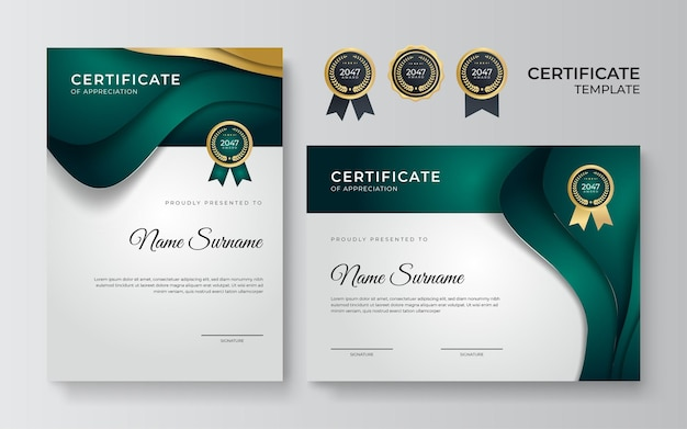 Certificate of achievement border design templates with elements of luxury gold badges, green shapes, and modern line patterns. vector graphic print layout can use for award, appreciation, education