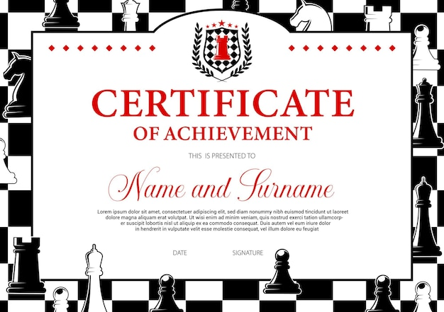 Certificate of achievement in chess tournament participation, award diploma   template.