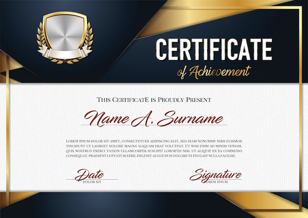 Certificate of achievement in modern frame