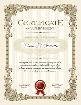 Certificate of achievement portrait with floral vintage frame