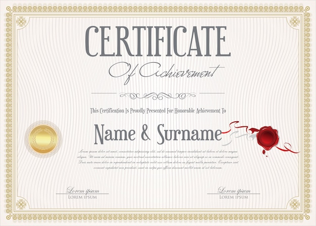 Certificate of achievement retro design template
