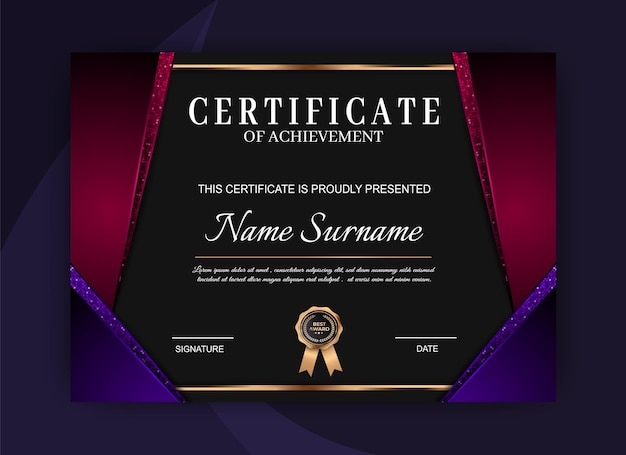 Certificate of achievement template. certificate of achievement template Premium Vector
