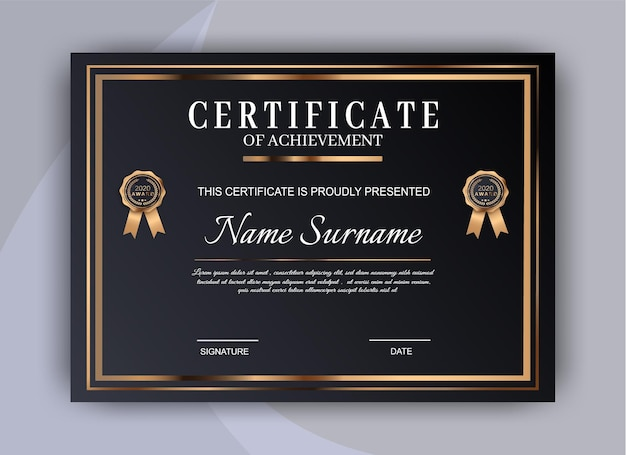 Certificate of achievement template design. premium certificate diploma template