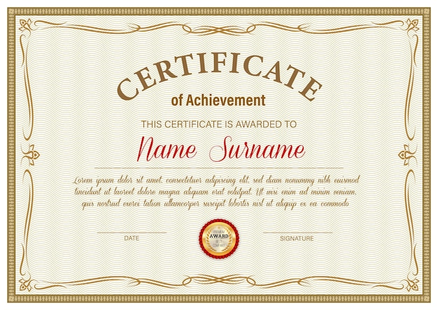 Certificate of achievement template, diploma border ornate design. official award frame, paper document for winner appreciation or graduation with golden stamp and place for name and surname