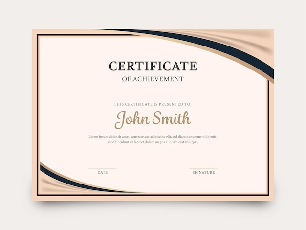 Certificate of achievement template layout in beige color.