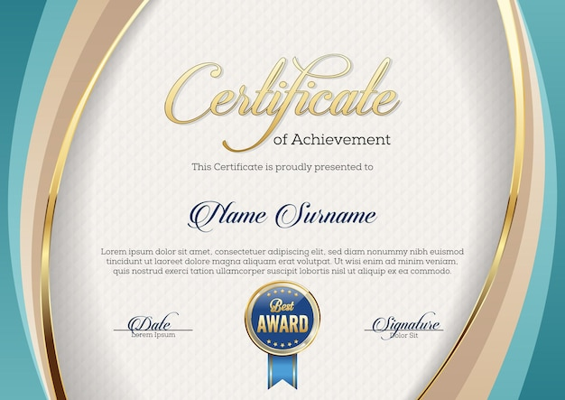 Certificate of achievement. template. premium.