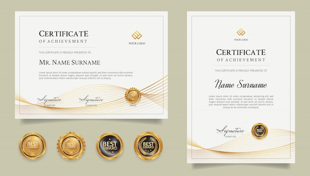 Certificate of achievement template with gold line art and badges