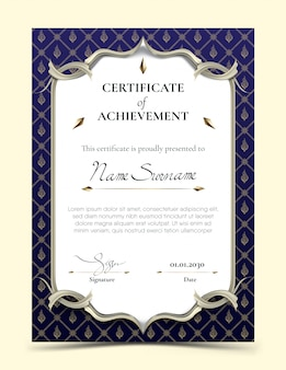 Certificate of achievement template with traditional blue thai pattern border