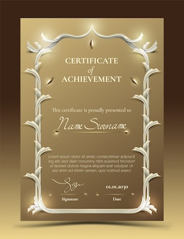Certificate of achievement template with traditional gold border