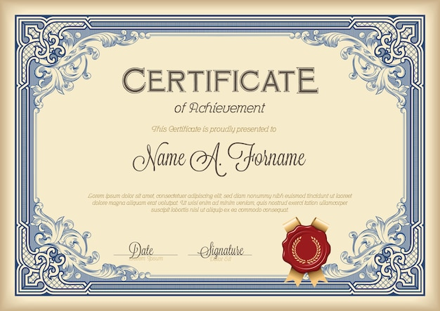 Certificate of achievement vintage floral frame