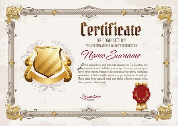 Certificate of achievement vintage frame