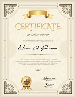 Certificate of achievement in vintage frame