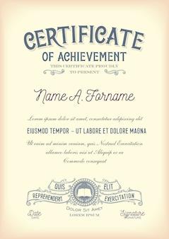 Certificate of achievement. vintage. portrait.