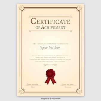 Certificate of achievement Premium Vector