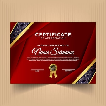 Certificate of achievements with dark colors and shapes