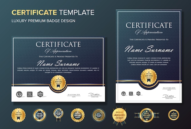 Certificate of appreciation background template with badge