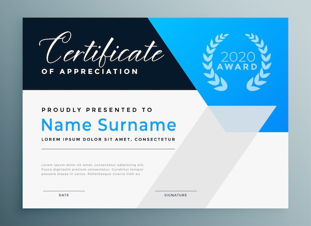 Certificate of appreciation blue professional template