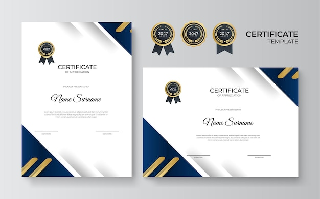 Certificate of appreciation design template in blue and gold color. luxury business diploma layout for training graduation or course completion. vector background illustration