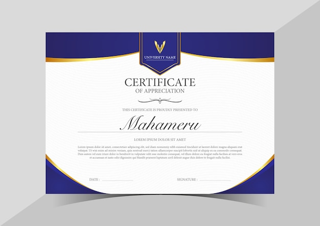 Certificate appreciation template gold and blue color, horizontal
