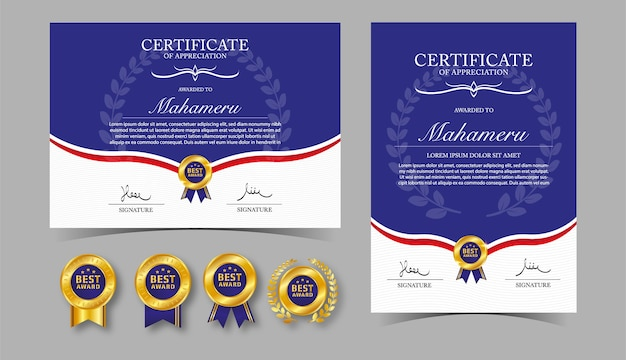 Certificate appreciation template gold and blue color