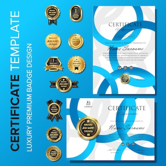 Certificate of appreciation  template with badge