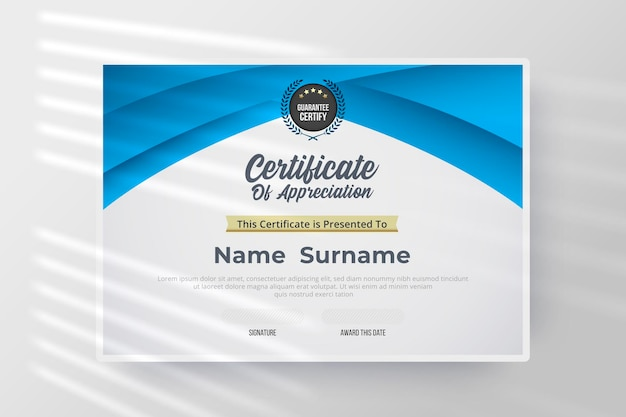 Certificate of appreciation template with blue and white color.
