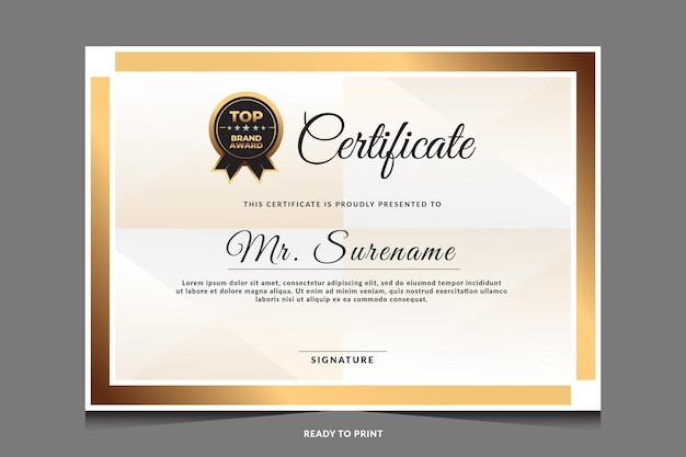 Certificate of appreciation template with gold badge