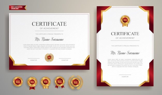 Certificate of appreciation template with gold and red border