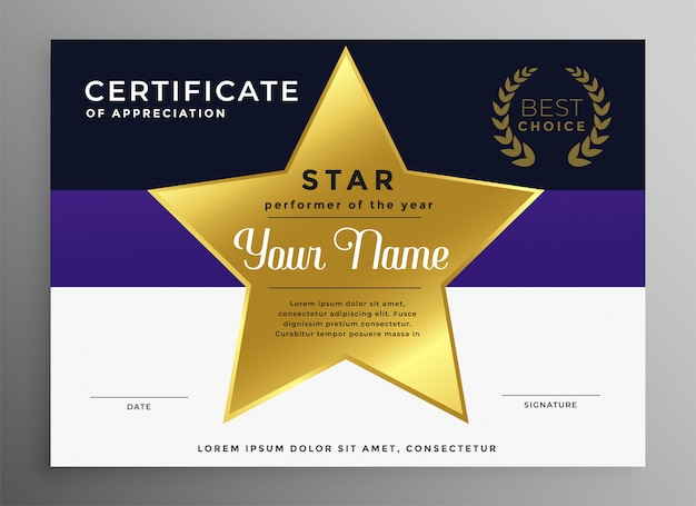 Certificate of appreciation template with golden star