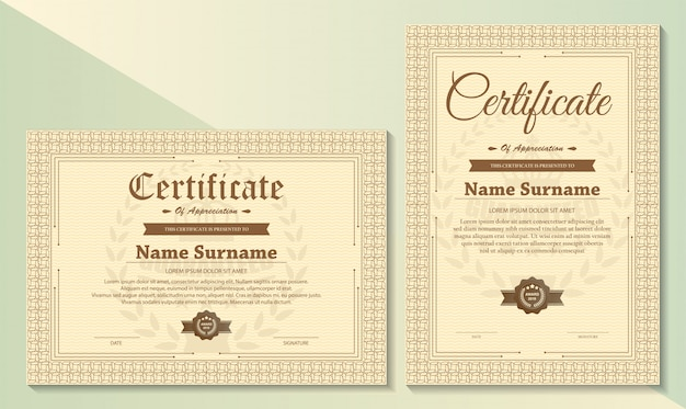Certificate of appreciation template with vintage gold border