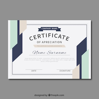 Certificate of appreciation with abstract shapes