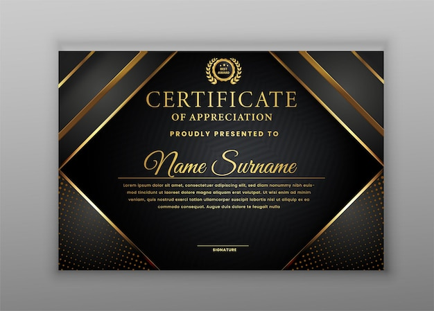 Certificate of appreciation with gold and black border template