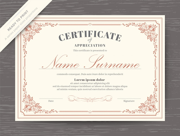 Certificate award diploma template with floral border and frame