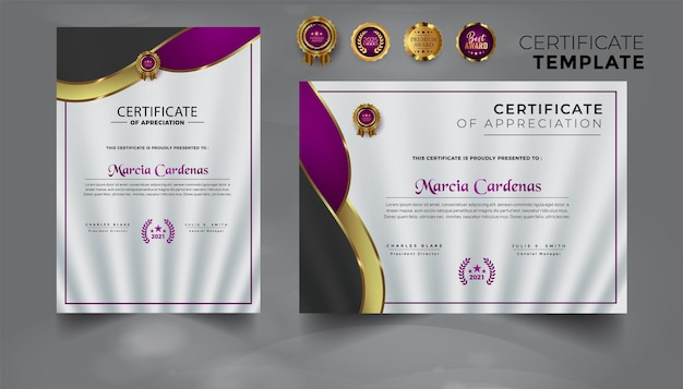 Certificate of award template gold and modern color with badges