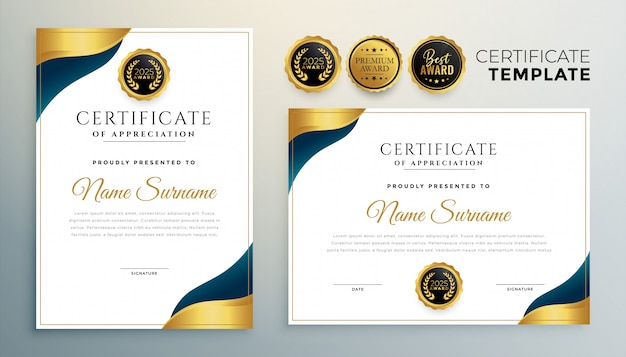 Certificate award template for multipurpose use design