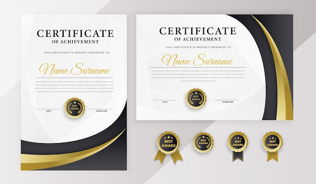 Certificate best award diploma template set with badge