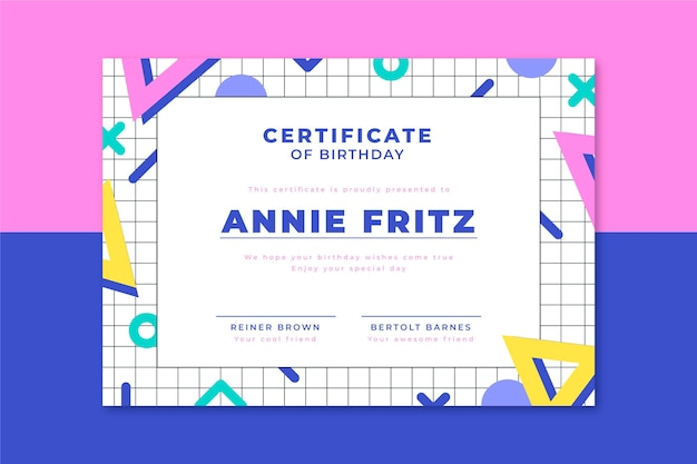 Certificate of birthday geometric shapes