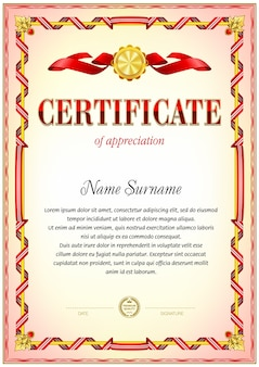 Certificate blank template. red color gamma.