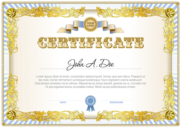 Certificate blank template in yellow and blue color gamma.