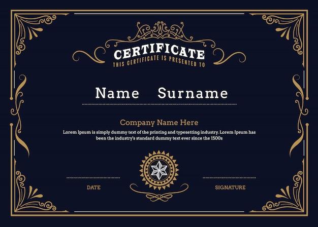 Граница сертификата процветает элегантный винтажный дизайн шаблона