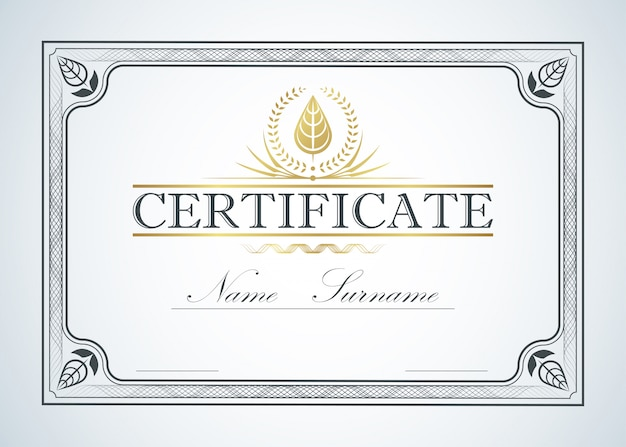 Certificate border frame template guide design. retro vintage luxury certification