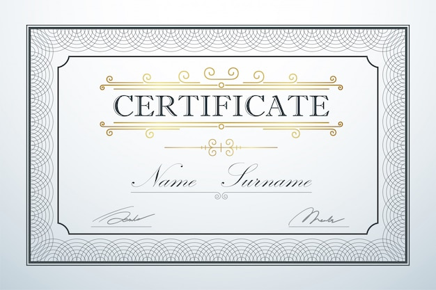 Certificate card frame template guide design. retro vintage luxury certification