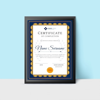 Certificate of completion award template.