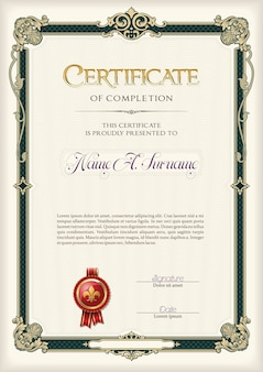Certificate of completion in vintage frame