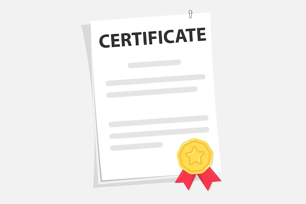 Certificate degree of university, college or school graduate alumni success and course completion. graduation test blank. award, grant, diploma concepts. document. diploma paper scroll with stamp