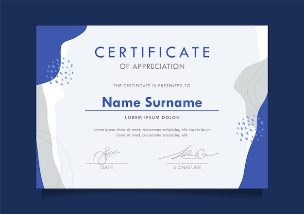 Certificate design template for activities easy editable