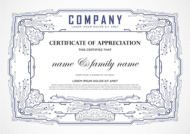 Certificate design template. it and technology.