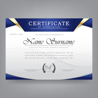 Certificate design template in modern style