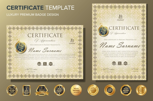 Certificate design template with badge