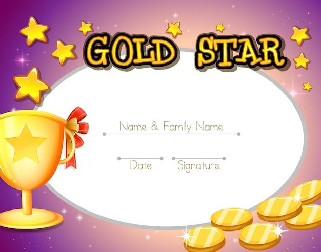 Design del certificato con monete d'oro e trofeo